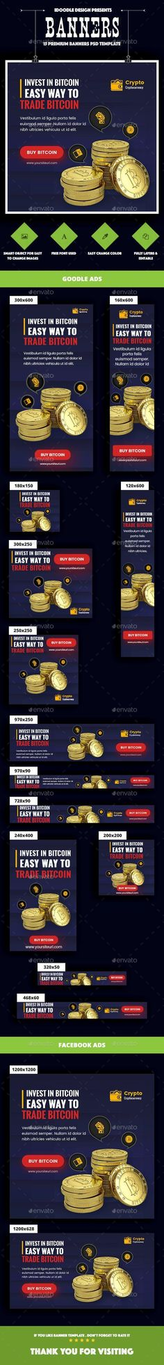 Buy Cryptocurrency Banners Ads by iDoodle on GraphicRiver. DESCRIPTION : Cryptocurrency Banners Ads PSD Template is a clean and unique design so far using the latest trendy mat. Blockchain, Facebook Ad Size, Construction Website, Business Website Templates, Buy Cryptocurrency, Web Design, Graphic Design, Banner Template, Psd Templates