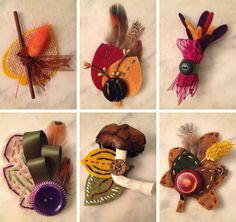 Autumn brooches, handmade with felt, ribbon, feathers, vintage buttons, burlap and other random supplies found in my cupboard. Would make lovely wedding boutonnieres or corsages!