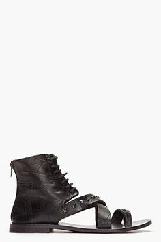 Diesel Black Gold Black Studded Leather Anibal H Sandals for men | SSENSE
