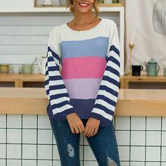 pulover dama cu dungi  colorate si imprimeu pret pulover dama cu dungi si imprimeu ieftine Cauta acum Haine online ieftine si de firma din magazinele online de haine! Sweaters, Fashion, Moda, Fashion Styles, Sweater, Fashion Illustrations, Sweatshirts, Pullover Sweaters, Pullover
