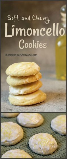 Recipe for Limoncello cookies - soft and chewy homemade cookies with just a touch of limoncello for delicious lemon flavor. Lemon Desserts, Lemon Recipes, Cookie Desserts, Baking Recipes, Delicious Desserts, Dessert Recipes, Lemon Cookies, Yummy Cookies, Cookies Soft