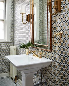 Hicks Hexagon Wallpaper in Powder Room - Transitional - Bathroom Hexagon Wallpaper, Geometric Wallpaper, Pattern Wallpaper, Wallpaper Ideas, Wall Wallpaper, Half Bathroom Wallpaper, Wallpaper Designs, Wallpaper Online, Designer Wallpaper
