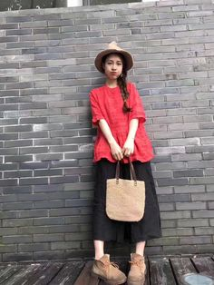 New Arrival Single-Breasted Doll Blouse Oversize Pleated Blouse    #red #linen #oversize #pleated #blouse #shirt #fashion #elegant #vintage