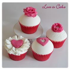 Valentine's Day - Pink and white valentine's day cupcakes by loveiscake.co.uk