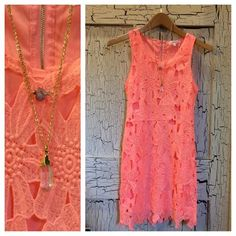 **NEW** This bright, little lace overlay dress makes us so #happy! Come shop our new arrivals & new markdown styles! #sweet #summer #lace #dress #sothread #austin — at Southern Thread @ The Domain.