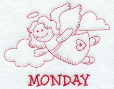 Heavenly Angel on Monday (Redwork)