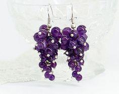 Amethyst earrings Purple earrings Cluster earrings Statement jewelry Christmas gifts for sister birthday gifts for girlfriend gift women
