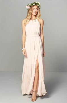 Main Image - Lulus Gold Metallic Halter Neck Chiffon Gown $158