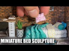 How to sculpt a miniature bed using polymer clay and acrylic paints. Part of a miniature scene of a student room. How to sculpt miniature desk and chair : ht...