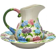 Serve up smiles with this pitcher and serving bowl set that has a hand-painted design fit for garden parties and more. Mugs And Jugs, Serving Bowl Set, Wash Stand, Feeling Fine, Water Pitchers, Hydrangeas, Ceramic Bowls, Garden Parties, Pottery