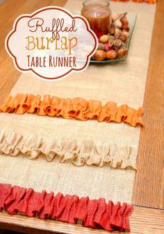 Ruffled Burlap Table Runner