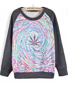 Dark Grey Long Sleeve Maple Leaves Swirl Print Sweatshirt US$30.00