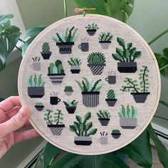 We love this cross-stitch hoop of all of favorite potted plants. Cross Stitch Hoop, Dmc Embroidery Floss, Potted Plants, Pot Holders, Photo And Video, Inspiration, Instagram, Cross Stitch, Pot Plants