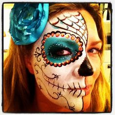 Dia de los Muertos face paint by Amy C for Halloween - this was the trial a few months before