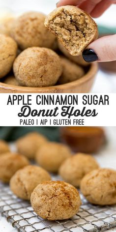 These paleo & AIP apple donut holes are a simple and delicious fall treat! They're paleo egg free AIP and are made in the oven. These paleo & AIP apple donut holes are a simple and delicious fall treat! They're paleo egg free AIP and are made in the oven. Paleo Dessert, Paleo Sweets, Paleo Food, Eating Paleo, Low Carb Diets, Dieta Aip, Cinnamon Sugar Apples, Apple Cinnamon, Cinnamon Desserts