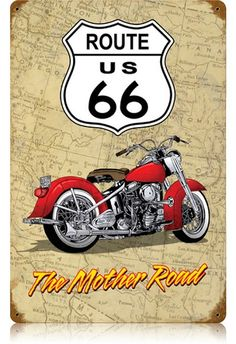 Vintage Cars : Illustration Description Vintage Mother Road Metal Sign 12 x 18 Inches Garage Signs, Garage Art, Man Cave Garage, Motorcycle Posters, Motorcycle Art, Bike Art, Vintage Cars, Retro Vintage, Foto Transfer