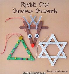 3 Popsicle Stick Christmas Ornaments Kids Craft is part of Holiday Kids Crafts Ornaments - Everyone loves Popsicle stick crafts & these 3 Popsicle Stick Christmas Ornaments are as cute as they are easy Cute kids craft to make as Christmas gifts Kids Christmas Ornaments, Preschool Christmas, Christmas Crafts For Kids, Christmas Activities, Christmas Art, Christmas Projects, Christmas Tree Decorations, Holiday Crafts, Christmas Gifts