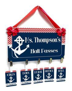 nautical anchor theme teacher classroom passes dark blue with red chevron - HP43