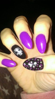 Acrylic nails  with perfect match gel polish on top black velvet, violetta and the silver screen