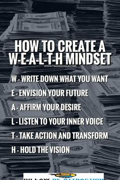 WEALTH mindset Practice these law of attraction habits and you'll become a millionaire trader faster than you ever thought possible. It doesn't matter if you're a forex, bitcoin, stock, options or penny stocks trader you can use these habits to your advan Wealth Quotes, Trading Quotes, Law Of Attraction Money, Manifesting Money, Become A Millionaire, Mindset Quotes, Money Quotes, Business Inspiration, Business Ideas