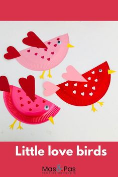 Valentines craft for kids – little love birds - Kids Crafts - Mas & Pas : An adorable Valentines craft for kids. Use paper plates to make the little love birds. Time: 15 mins Age: Little kids to Big kids Difficulty: Easy peasy Preschool Valentine Crafts, Valentines Day Activities, Valentines For Kids, Valentines Day Quotes For Him, Valentines Day Desserts, Valentine's Day Crafts For Kids, Toddler Crafts, Craft Kids, Summer Crafts