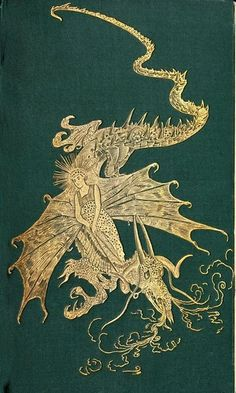 Decorative front cover of 'The Green Fairy Book' edited by Andrew Lang. Illustrations by H. Published 1906 by Longmans, Green & Co. Book Cover Art, Book Cover Design, Book Design, Book Art, Vintage Book Covers, Vintage Books, Vintage Library, Old Books, Antique Books