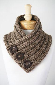 Items similar to Chunky Button Scarf, Wool Scarf, Women's Scarf, Handmade Infinity on Etsy Chunky Button Scarf Wollschal Damenschal von TheWoollyGarment Chunky Crochet Scarf, Crochet Scarves, Crochet Shawl, Knit Crochet, Chunky Wool, Crochet Cowl Free Pattern, Crochet Patterns, Diy Crafts Knitting, Crochet Neck Warmer