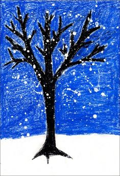 winter tree drawn with oil pastel--suggests Y-trees; draw large Y for the trunk, add more Ys using the branches of first Y, keep adding them, make trunk thicker at bottom tapering as it goes up.