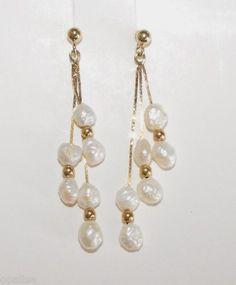 Vintage 3 Chain White Pearl Dangle 14k Earrings