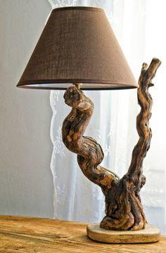 Wimpelkette - Holz - Driftwood lamp sculpture