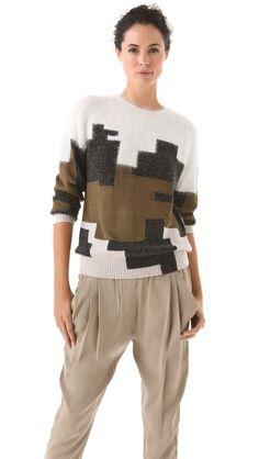 Shopbop...3.1 Phillip Lim...Digital Brindle Intarsia Pullover...Love this sweater.