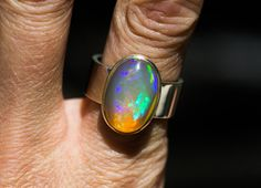 Opal Ring Size 8.5  Firey Bright Opal ring  by NaturalRockShop