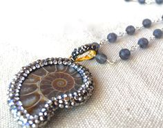 Ammonite Fossil Necklace nautilus shell pendant necklace pave crystal necklace beaded silver necklace simple modern necklace beach rustic by FunNFiber on Etsy