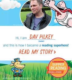 Dav Pilkey is a Reading Superhero! Click through to learn fun facts about the author! Reading Programs For Kids, Online Reading Programs, Online Programs, Ya Books, Free Books, Books To Read, 4th Grade Reading, Kids Reading, Author Studies