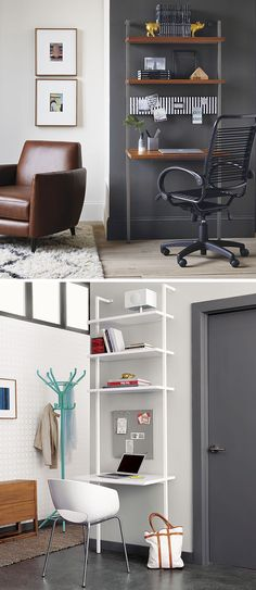 16 Wall Desk Ideas That Are Great For Small Spaces // This shelving system mounts to the wall and has a larger shelf that's just the right size to be used for a desk.