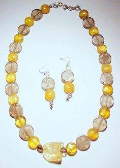 Handmade Sterling SilverCitrine Smoky Quartz Set  Necklace Earrings #Artistmadejewelryset