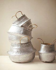 diy painted metallic baskets.