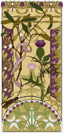 Mistletoe and Thistle floral panel Cross stitch от Whoopicat