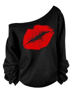 Red Red Kiss | $7.15 | Oblique Shoulder Long Sleeve Lip Print T-Shirt For Women | M-2XL | Sammydress.com