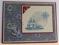 My first card made with the Stampin Up Open Sea stamp set that Santa gave me