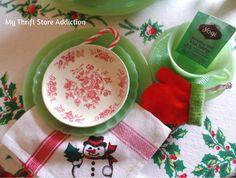 My Thrift Store Addiction : Friday's Find: A Snowman Tea for Two! #ThriftStoreFinds #Vintage #Jadeite
