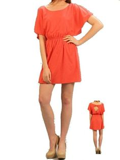 Coral Dress with Cut Out Back Bow Detail - $36.00 : FashionCupcake, Designer Clothing, Accessories, and Gifts