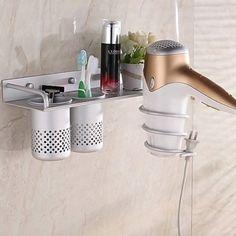 Multifunction Hair Dryer Stands Wall Mounted Aluminum Bathroom Organizer shelf with 2 cups - Walmart.com