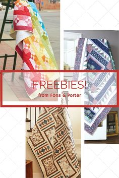 Fons & Porter has free quilt patterns, projects, quilting designs, and more available as simple downloads every day! They are always available on the Fons & Porter website with new freebies added often. Take a look!