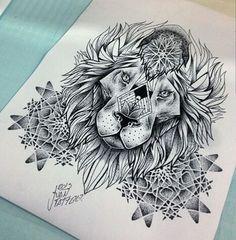 Tattoo lion pontilhado geometric original