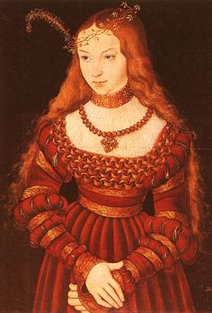 Sybilla of Cleves (red dress) by Lucas Cranach. I've always loved this dress and remade it in sturdier fabrics as a camp dress for Faire many years ago.