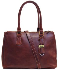 Floto Womens Personalized Initials Embossing Roma Satchel Handbag in Brown. Floto  Leather Bags 41dbf645bb
