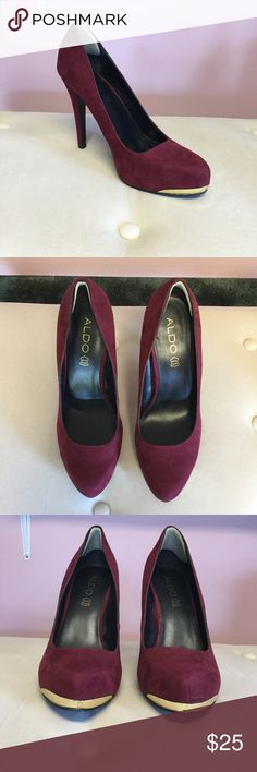 "Aldo Heels Size 10. Heel almost 5"". Burgundy suede. Minor scuffs on front gold tips. Aldo Shoes Heels"