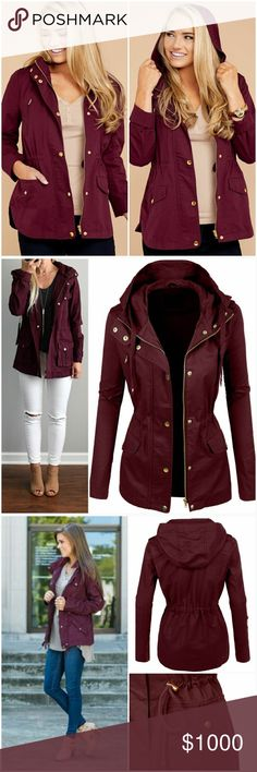 •Arrives 10/4• Burgandy Utility Jacket • Like this listing and comment below to be notified when this arrives.  Price $45  Super soft and trendy burgandy anorak utility jacket. A must have for your fall wardrobe.  100% Cotton AJ's Threads Jackets & Coats Utility Jackets