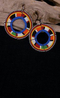african earrings - masai earrings - beaded earrings - african hoop - dangle & drop - african bead jewelry - maasai beadwork - gift womens by AfricaZuri on Etsy African Earrings, Tribal Earrings, African Beads, African Jewelry, Wood Earrings, Tribal Jewelry, Beaded Earrings, Women's Earrings, Beaded Jewelry